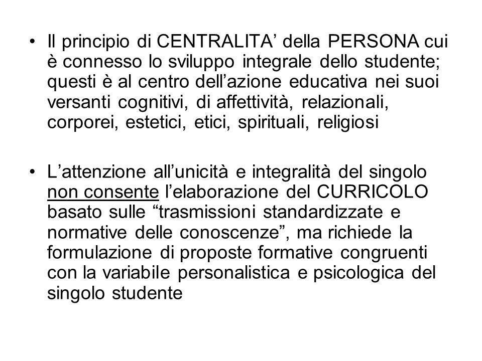 Il principio di CENTRALITA della PERSONA cui è connesso lo sviluppo integrale dello studente; questi è al centro dellazione educativa nei suoi versant