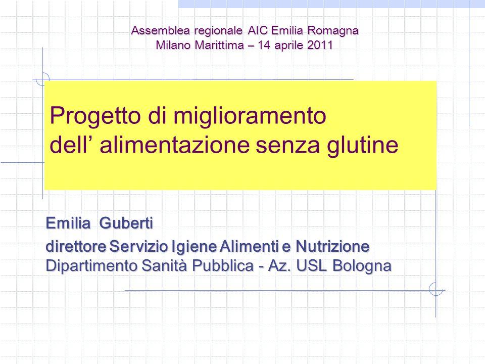 Progetto di miglioramento dell alimentazione senza glutine Emilia Guberti direttore Servizio Igiene Alimenti e Nutrizione Dipartimento Sanità Pubblica