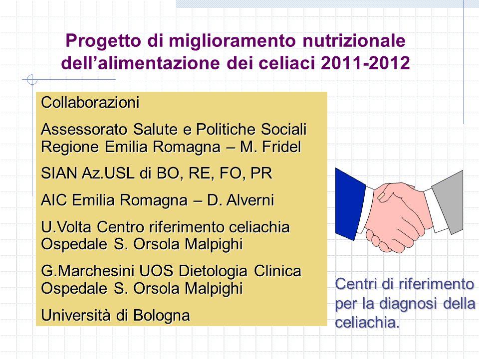 Progetto di miglioramento nutrizionale dellalimentazione dei celiaci 2011-2012 Collaborazioni Assessorato Salute e Politiche Sociali Regione Emilia Ro