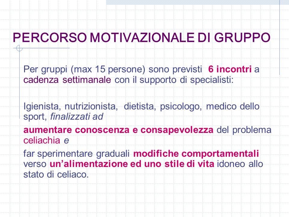 PERCORSO MOTIVAZIONALE DI GRUPPO Per gruppi (max 15 persone) sono previsti 6 incontri a cadenza settimanale con il supporto di specialisti: Igienista,