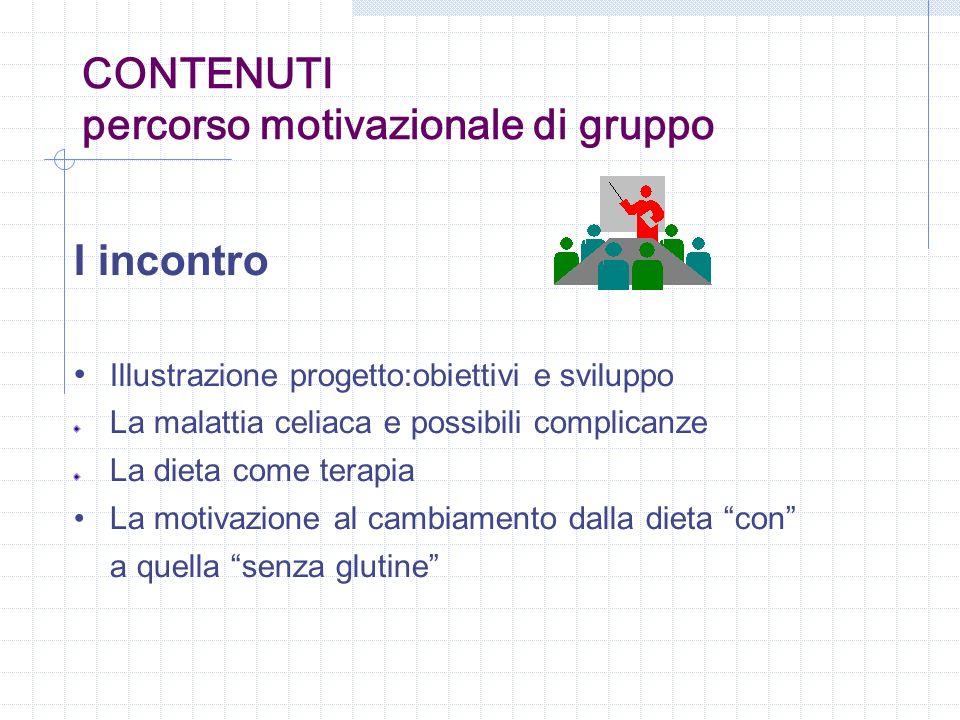 CONTENUTI percorso motivazionale di gruppo I incontro Illustrazione progetto:obiettivi e sviluppo La malattia celiaca e possibili complicanze La dieta