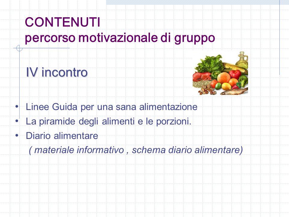 IV incontro Linee Guida per una sana alimentazione La piramide degli alimenti e le porzioni. Diario alimentare ( materiale informativo, schema diario