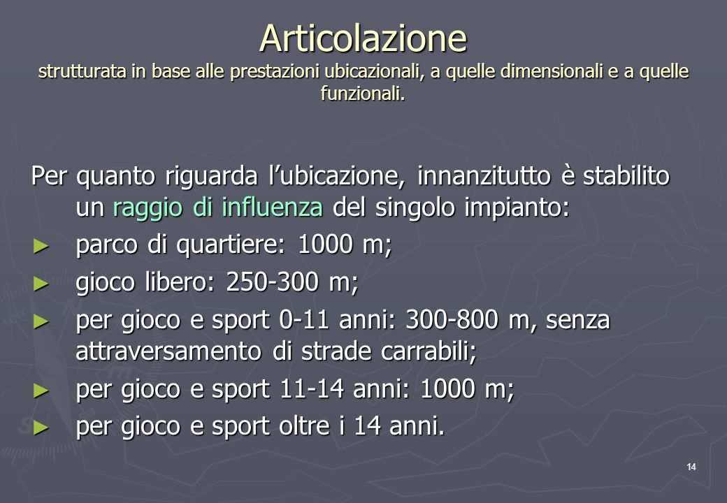 14 Articolazione strutturata in base alle prestazioni ubicazionali, a quelle dimensionali e a quelle funzionali.