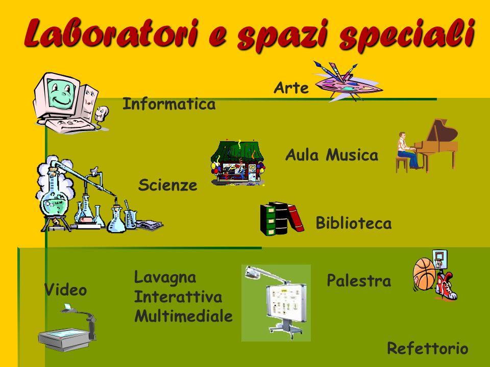 Arte Informatica Scienze Refettorio Biblioteca Video Aula Musica Laboratori e spazi speciali Lavagna Interattiva Multimediale Palestra