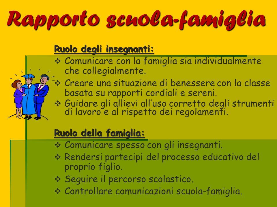 Rapporto scuola-famiglia Ruolo degli insegnanti: Comunicare con la famiglia sia individualmente che collegialmente. Creare una situazione di benessere