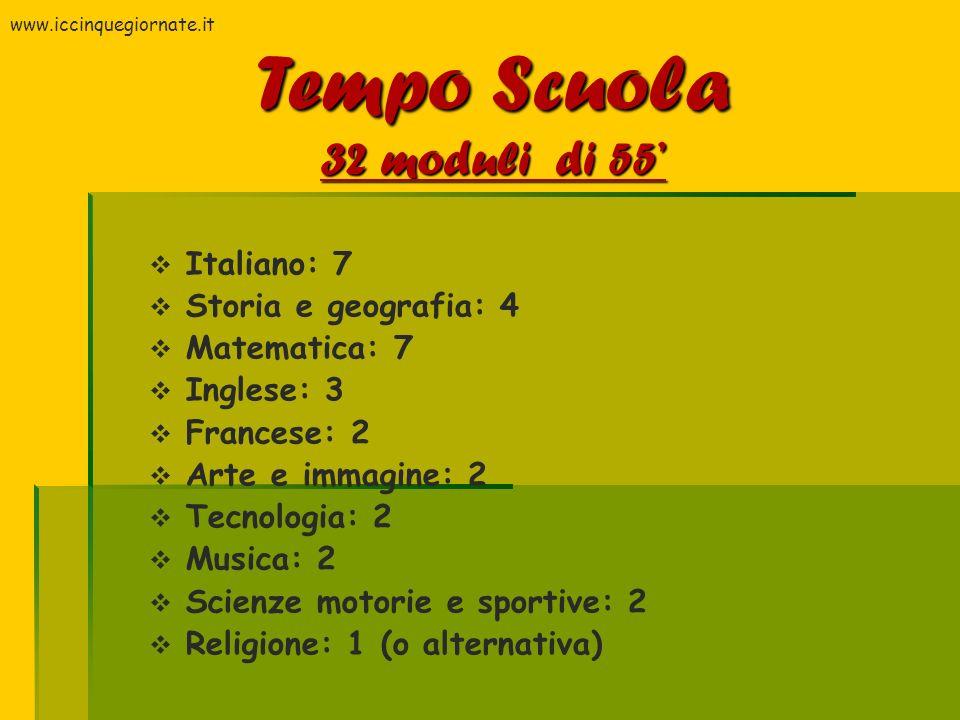 Italiano: 7 Storia e geografia: 4 Matematica: 7 Inglese: 3 Francese: 2 Arte e immagine: 2 Tecnologia: 2 Musica: 2 Scienze motorie e sportive: 2 Religi