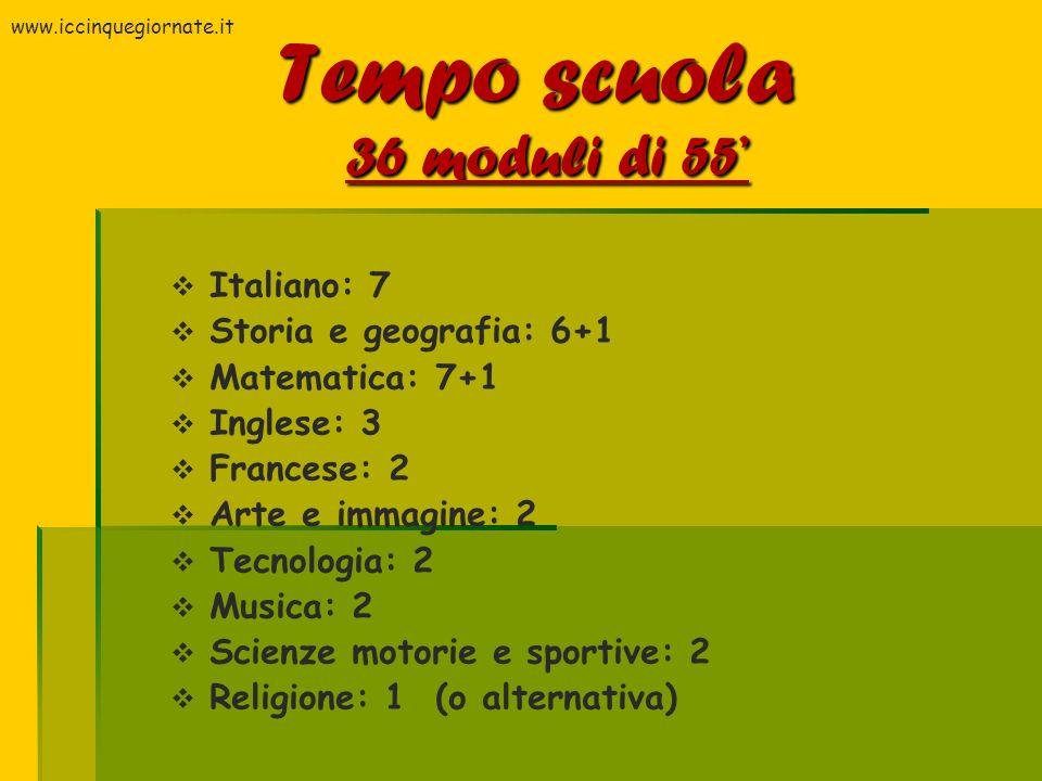 Tempo scuola 36 moduli di 55 Italiano: 7 Storia e geografia: 6+1 Matematica: 7+1 Inglese: 3 Francese: 2 Arte e immagine: 2 Tecnologia: 2 Musica: 2 Sci
