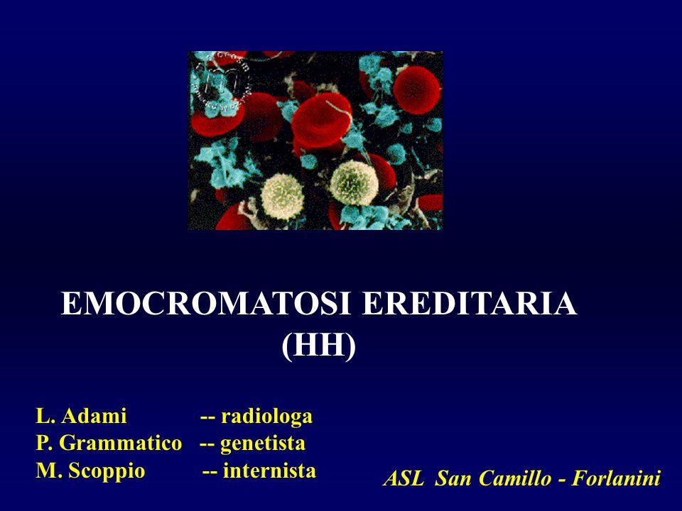 EMOCROMATOSI EREDITARIA (HH) L. Adami -- radiologa P. Grammatico -- genetista M. Scoppio -- internista ASL San Camillo - Forlanini