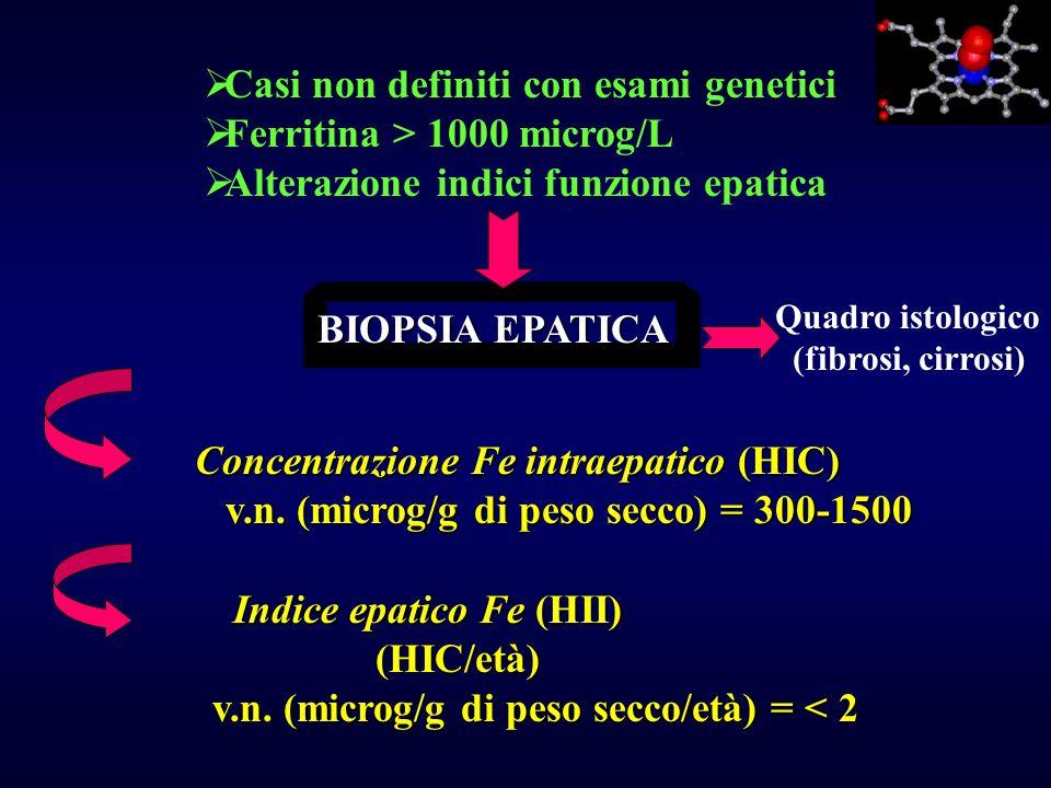 BIOPSIA EPATICA Casi non definiti con esami genetici Ferritina > 1000 microg/L Alterazione indici funzione epatica Concentrazione Fe intraepatico (HIC