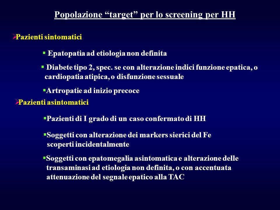 Popolazione target per lo screening per HH Pazienti sintomatici Epatopatia ad etiologia non definita Diabete tipo 2, spec. se con alterazione indici f