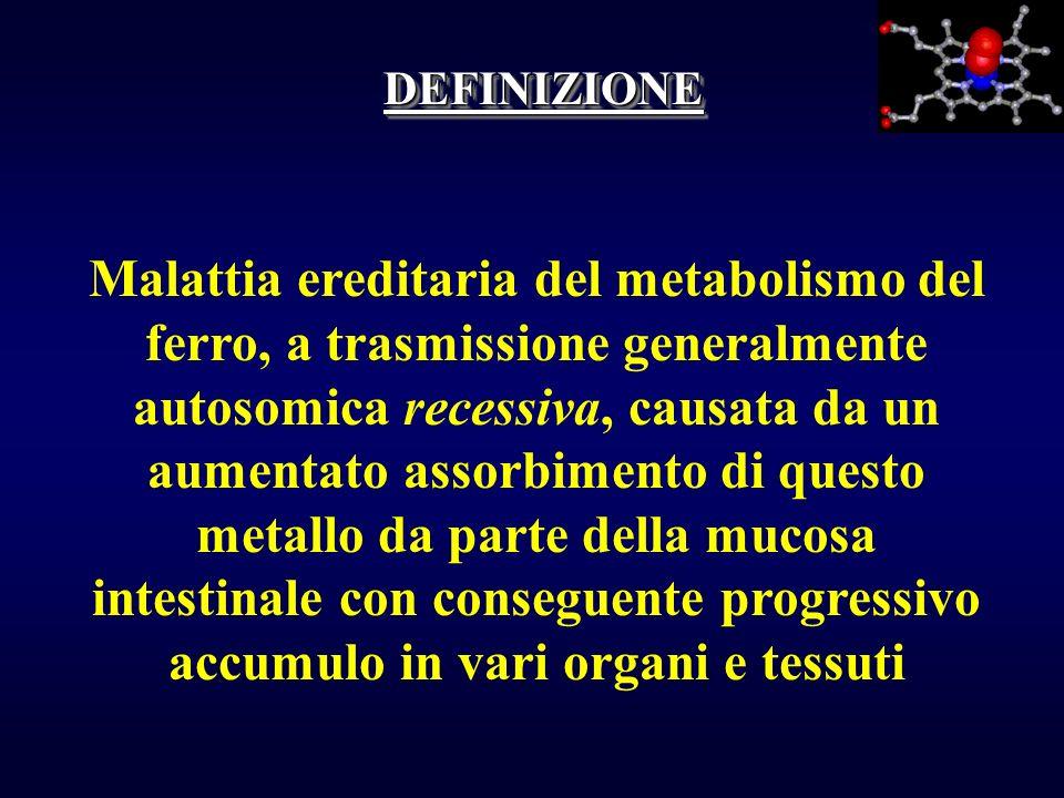DEFINIZIONEDEFINIZIONE Malattia ereditaria del metabolismo del ferro, a trasmissione generalmente autosomica recessiva, causata da un aumentato assorb