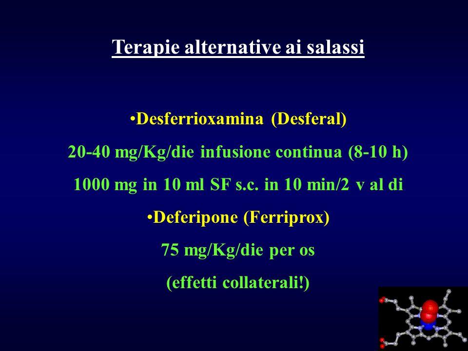 Terapie alternative ai salassi Desferrioxamina (Desferal) 20-40 mg/Kg/die infusione continua (8-10 h) 1000 mg in 10 ml SF s.c. in 10 min/2 v al di Def
