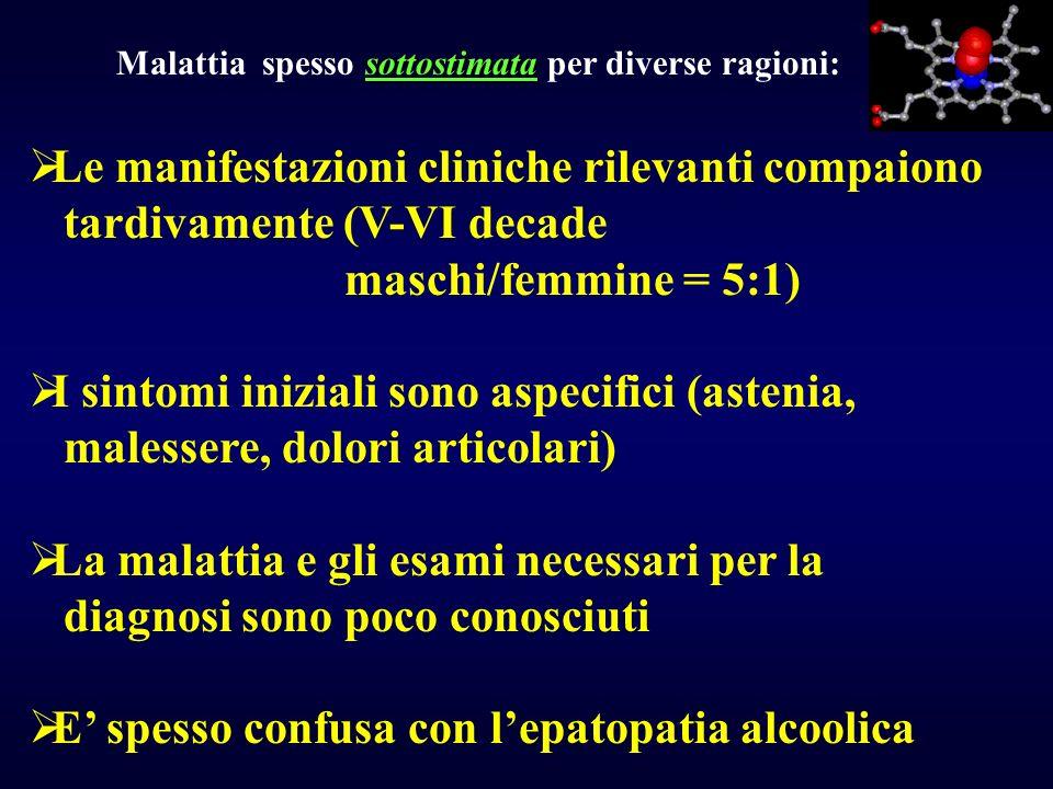 sottostimata Malattia spesso sottostimata per diverse ragioni: Le manifestazioni cliniche rilevanti compaiono tardivamente (V-VI decade maschi/femmine