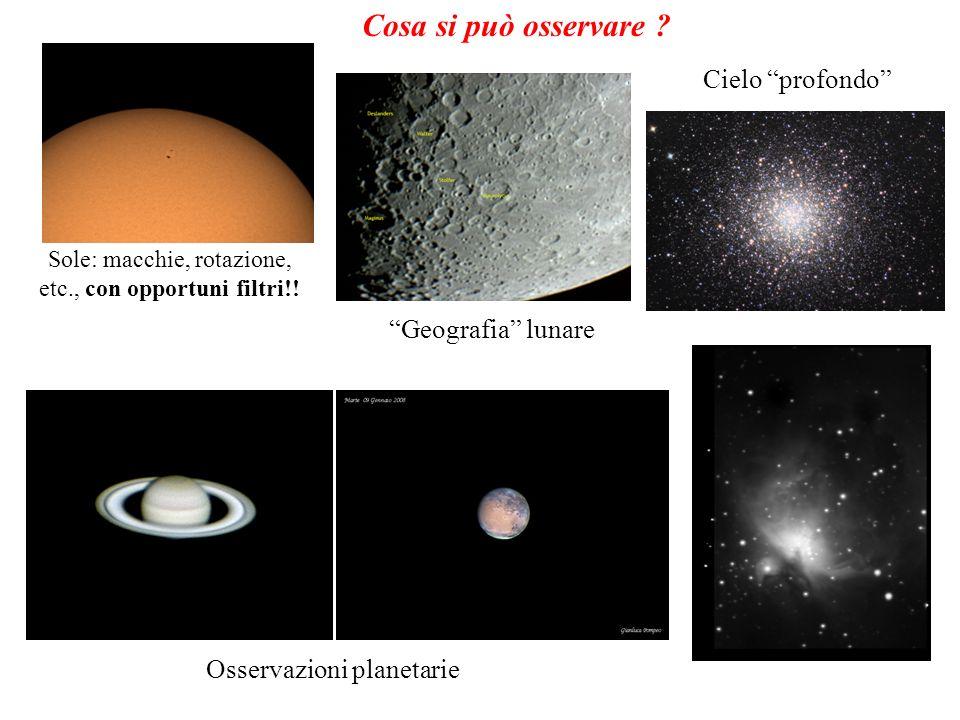 Cosa si può osservare ? Sole: macchie, rotazione, etc., con opportuni filtri!! Geografia lunare Osservazioni planetarie Cielo profondo