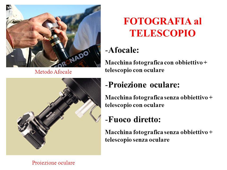 FOTOGRAFIA al TELESCOPIO -Afocale: Macchina fotografica con obbiettivo + telescopio con oculare -Proiezione oculare: Macchina fotografica senza obbiet
