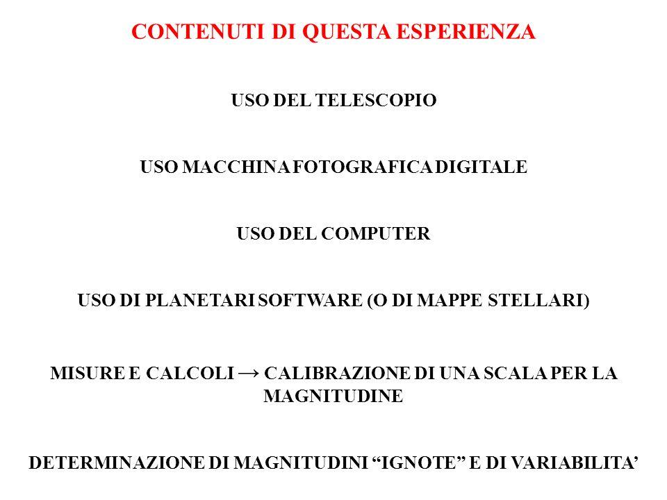 CONTENUTI DI QUESTA ESPERIENZA USO DEL TELESCOPIO USO MACCHINA FOTOGRAFICA DIGITALE USO DEL COMPUTER USO DI PLANETARI SOFTWARE (O DI MAPPE STELLARI) M