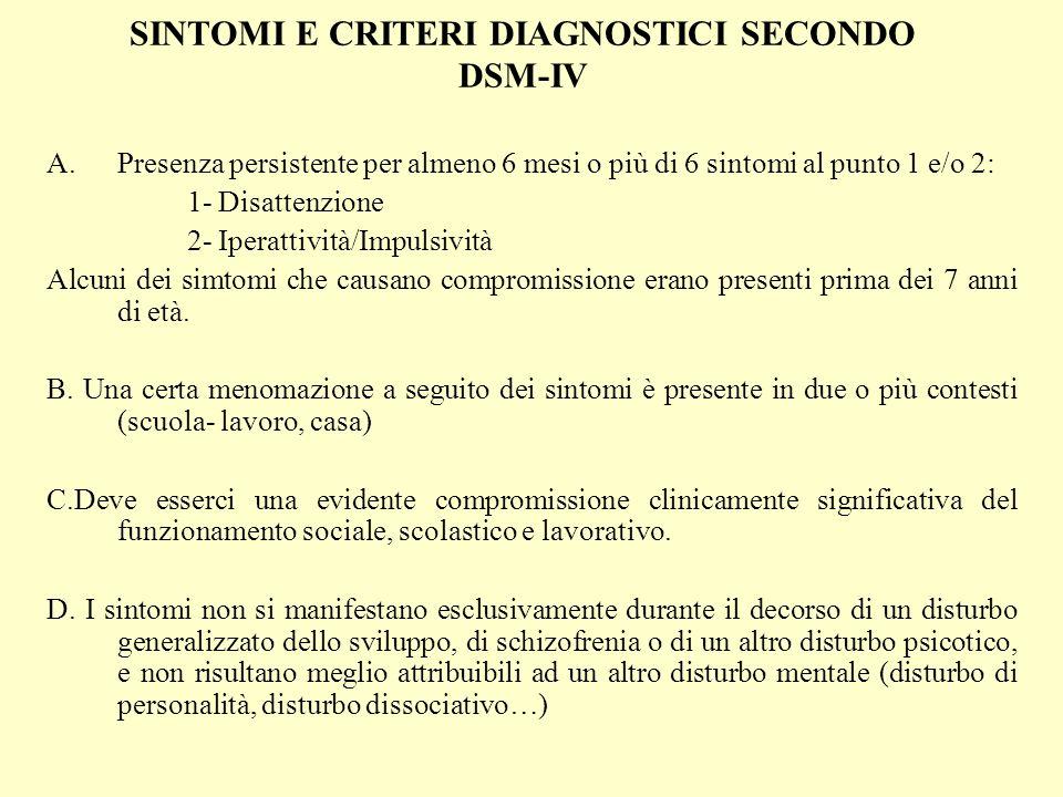 SINTOMI E CRITERI DIAGNOSTICI SECONDO DSM-IV A.Presenza persistente per almeno 6 mesi o più di 6 sintomi al punto 1 e/o 2: 1- Disattenzione 2- Iperatt