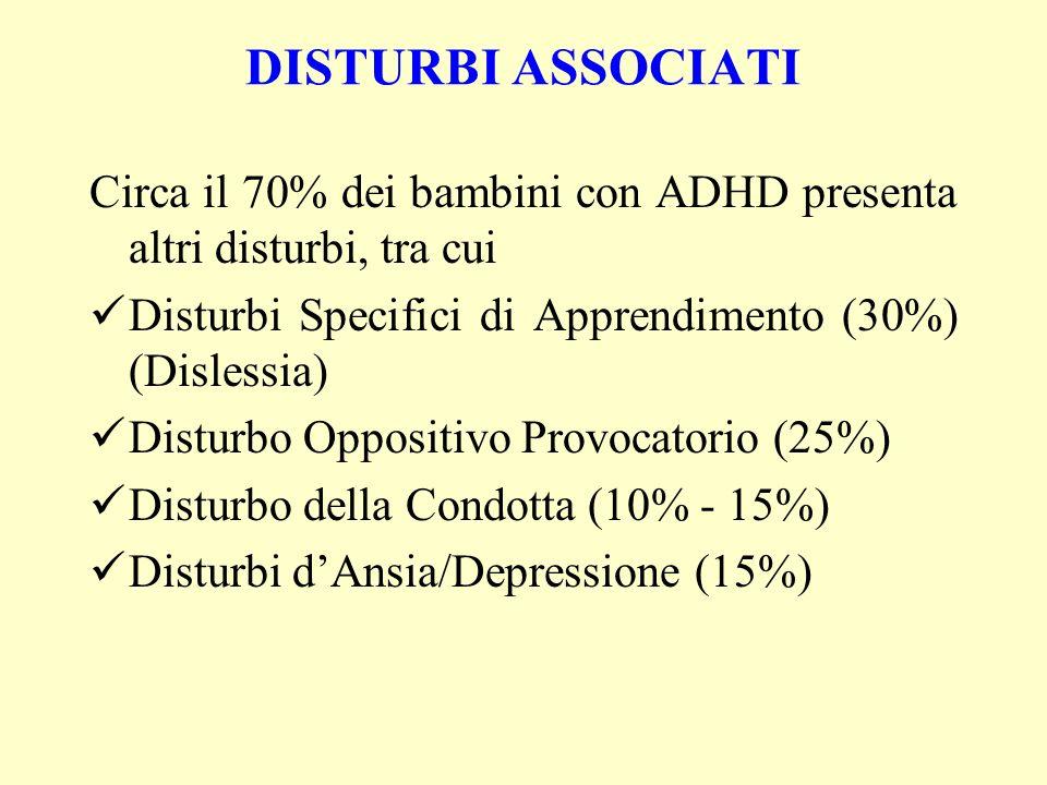 DISTURBI ASSOCIATI Circa il 70% dei bambini con ADHD presenta altri disturbi, tra cui Disturbi Specifici di Apprendimento (30%) (Dislessia) Disturbo O