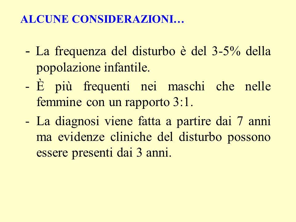 - La frequenza del disturbo è del 3-5% della popolazione infantile. -È più frequenti nei maschi che nelle femmine con un rapporto 3:1. -La diagnosi vi