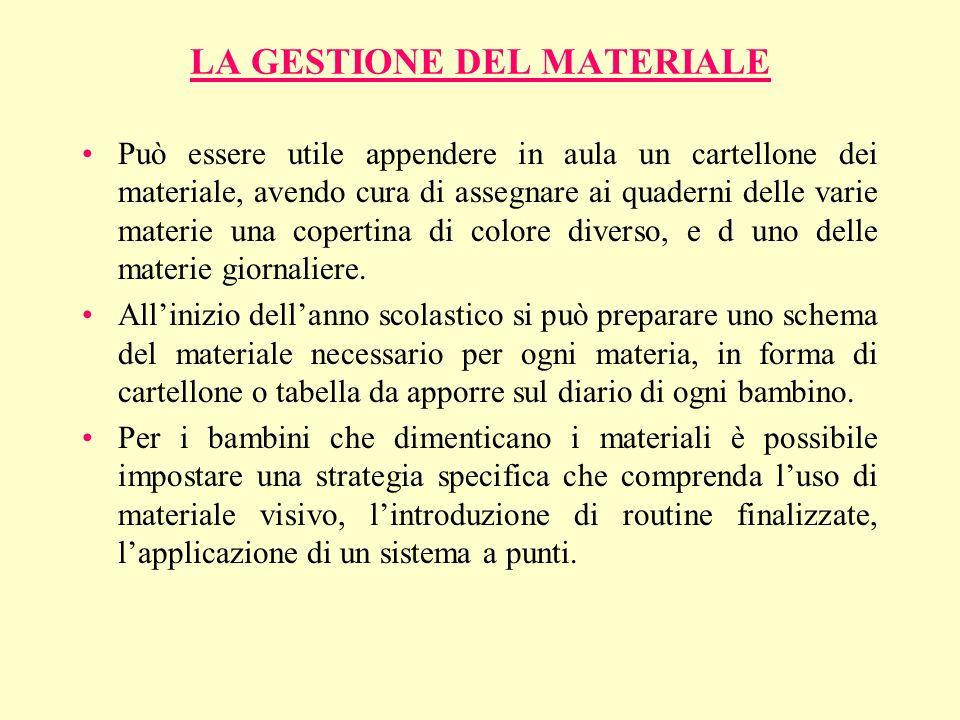 LA GESTIONE DEL MATERIALE Può essere utile appendere in aula un cartellone dei materiale, avendo cura di assegnare ai quaderni delle varie materie una