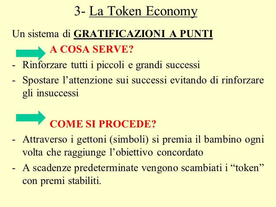 3- La Token Economy Un sistema di GRATIFICAZIONI A PUNTI A COSA SERVE? -Rinforzare tutti i piccoli e grandi successi -Spostare lattenzione sui success