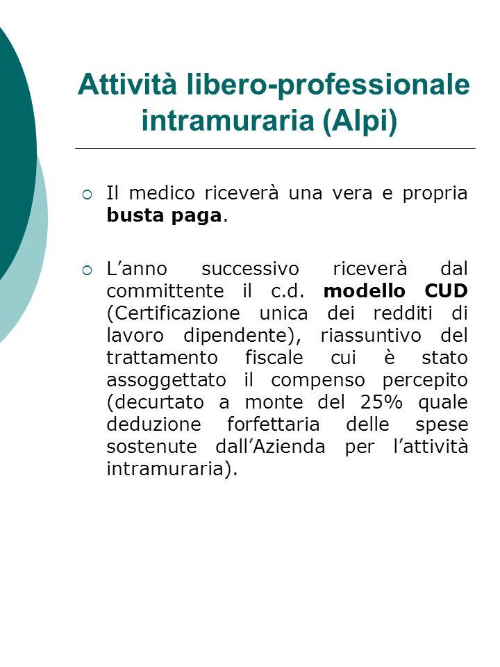 Attività libero-professionale intramuraria (Alpi) Il medico riceverà una vera e propria busta paga. Lanno successivo riceverà dal committente il c.d.