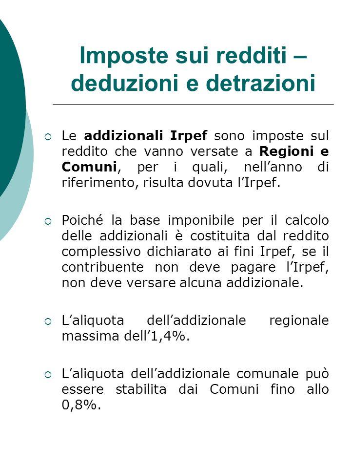 Le addizionali Irpef sono imposte sul reddito che vanno versate a Regioni e Comuni, per i quali, nellanno di riferimento, risulta dovuta lIrpef. Poich