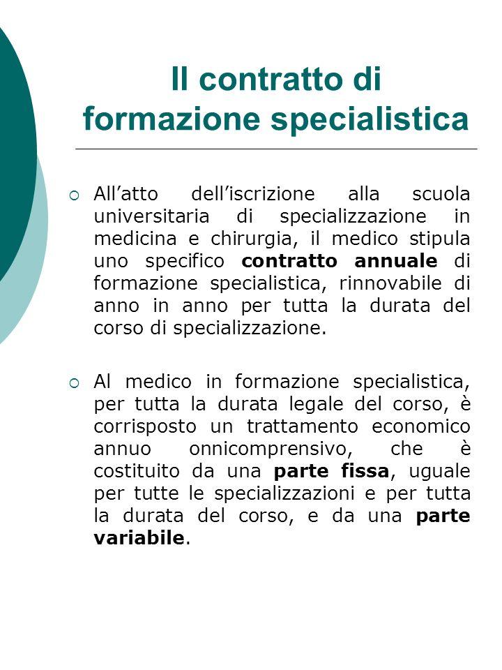Il contratto di formazione specialistica Allatto delliscrizione alla scuola universitaria di specializzazione in medicina e chirurgia, il medico stipu