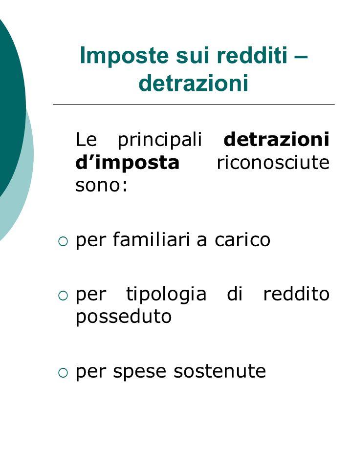 Imposte sui redditi – detrazioni Le principali detrazioni dimposta riconosciute sono: per familiari a carico per tipologia di reddito posseduto per sp
