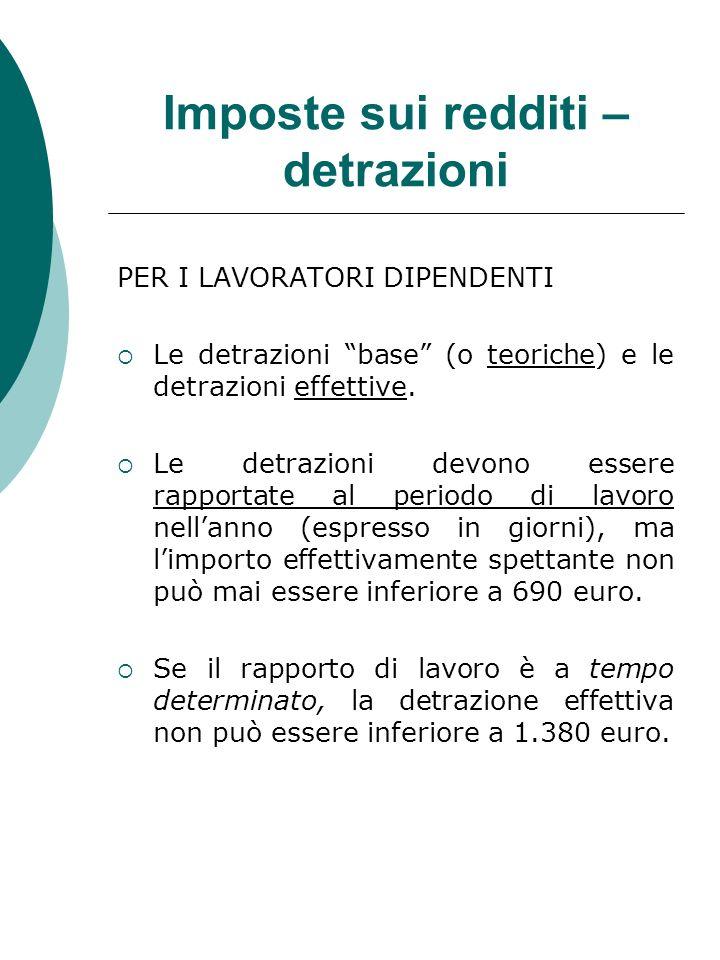 Imposte sui redditi – detrazioni PER I LAVORATORI DIPENDENTI Le detrazioni base (o teoriche) e le detrazioni effettive. Le detrazioni devono essere ra