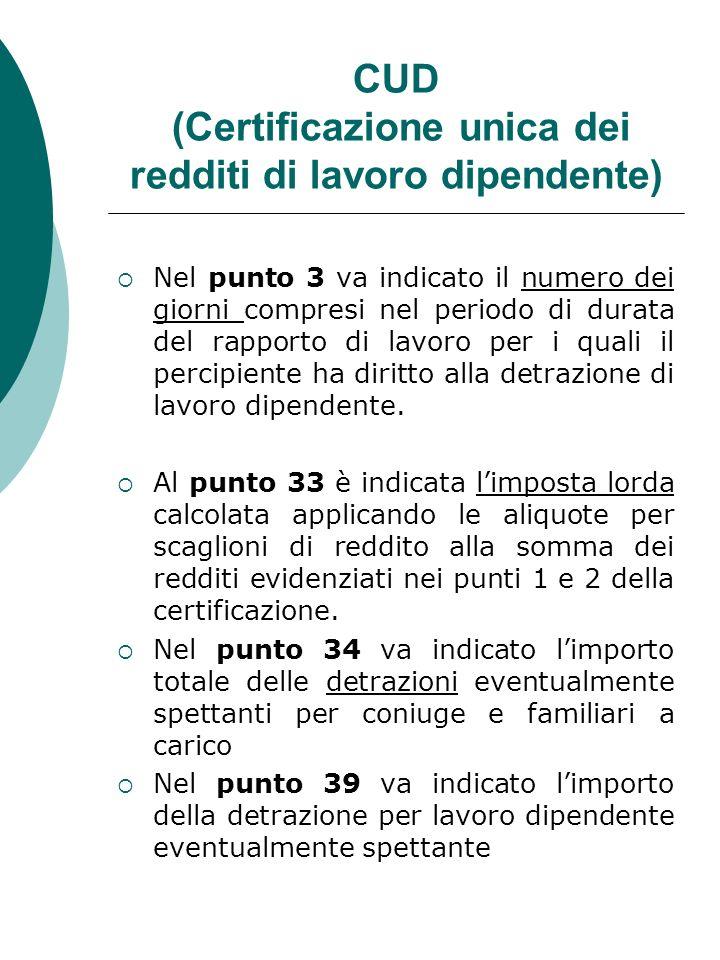 CUD (Certificazione unica dei redditi di lavoro dipendente) Nel punto 3 va indicato il numero dei giorni compresi nel periodo di durata del rapporto d