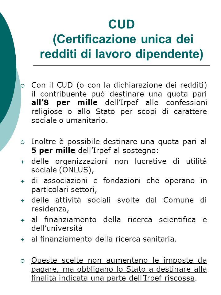 CUD (Certificazione unica dei redditi di lavoro dipendente) Con il CUD (o con la dichiarazione dei redditi) il contribuente può destinare una quota pa