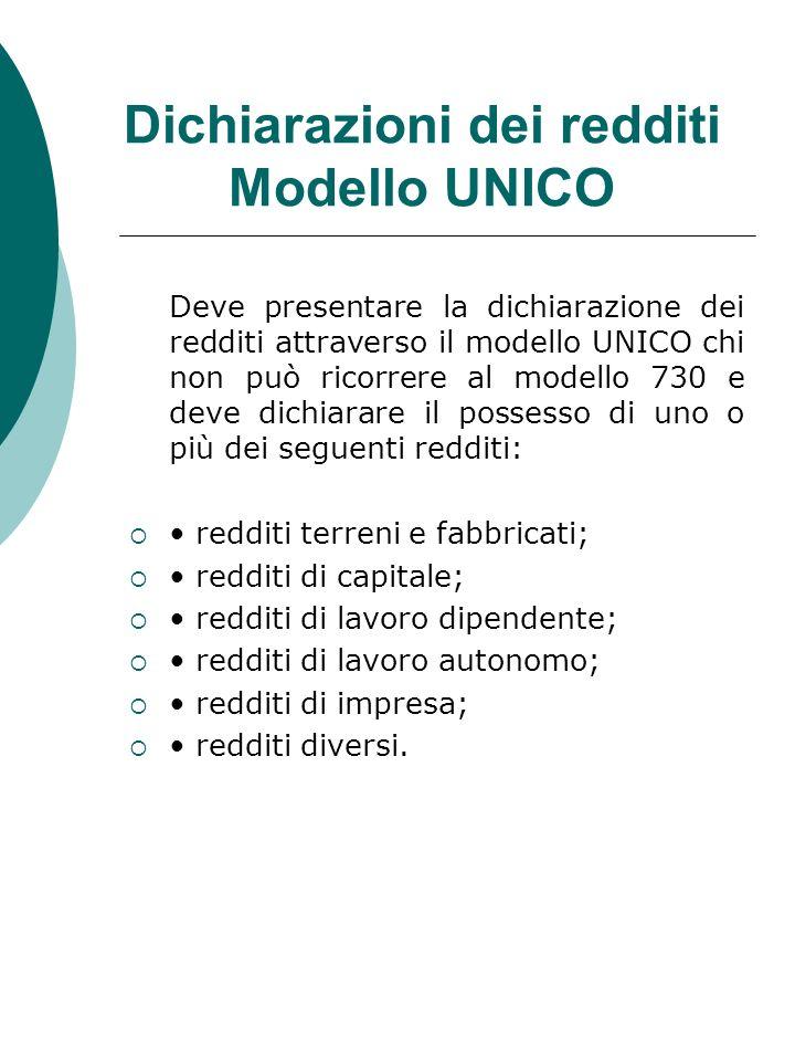 Dichiarazioni dei redditi Modello UNICO Deve presentare la dichiarazione dei redditi attraverso il modello UNICO chi non può ricorrere al modello 730
