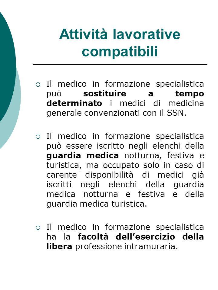 Attività lavorative compatibili Il medico in formazione specialistica può sostituire a tempo determinato i medici di medicina generale convenzionati c