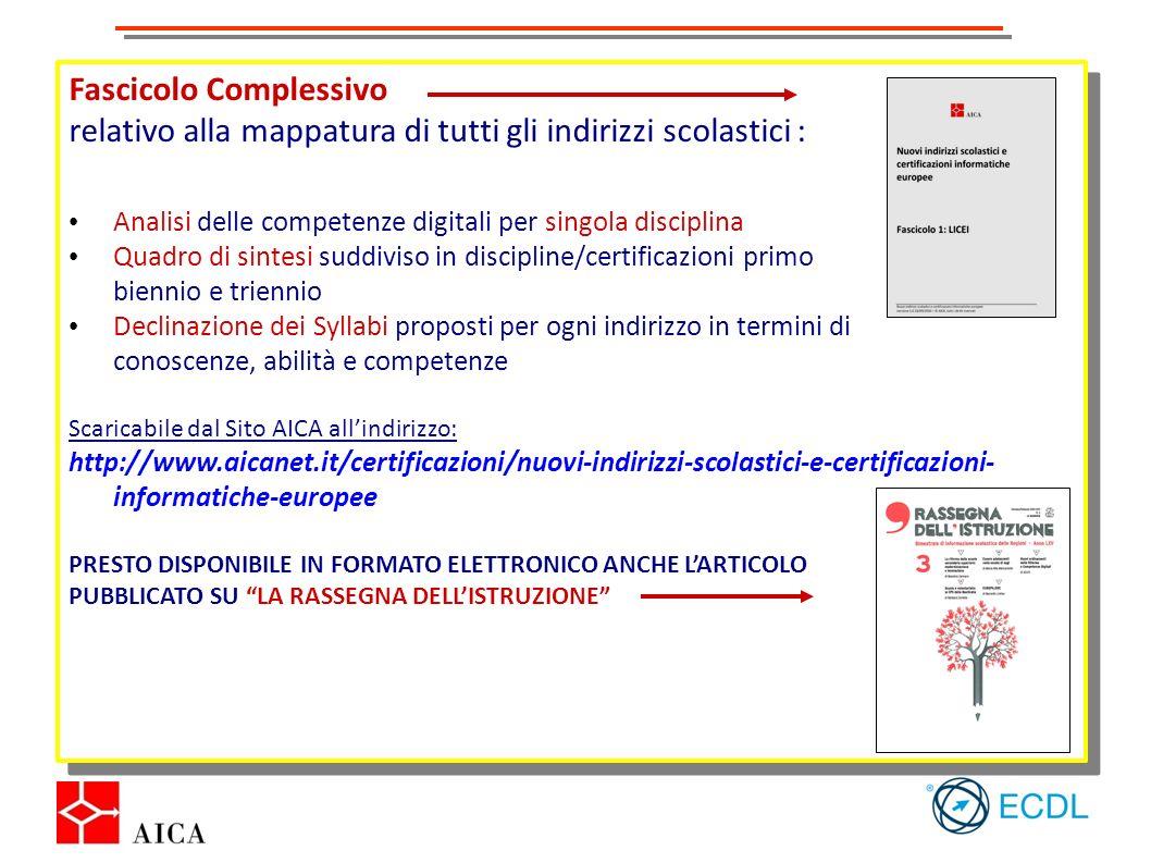 Fascicolo Complessivo relativo alla mappatura di tutti gli indirizzi scolastici : Analisi delle competenze digitali per singola disciplina Quadro di s