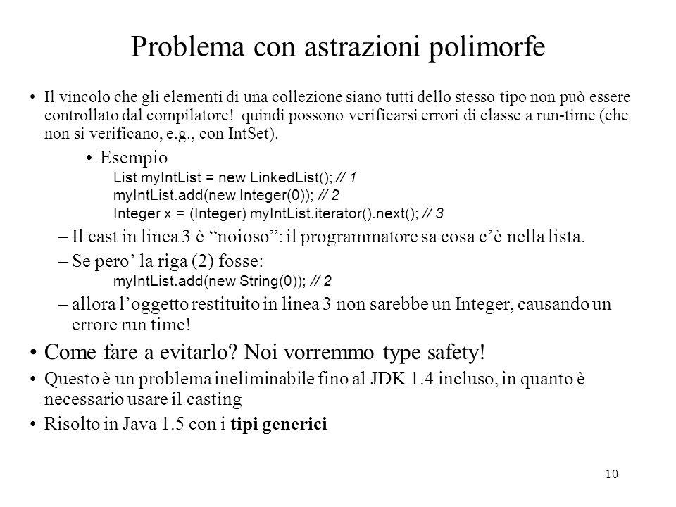 10 Problema con astrazioni polimorfe Il vincolo che gli elementi di una collezione siano tutti dello stesso tipo non può essere controllato dal compilatore.