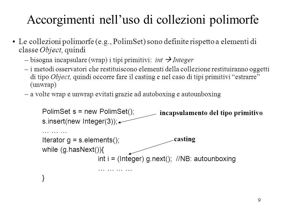 9 Accorgimenti nelluso di collezioni polimorfe Le collezioni polimorfe (e.g., PolimSet) sono definite rispetto a elementi di classe Object, quindi –bisogna incapsulare (wrap) i tipi primitivi: int Integer –i metodi osservatori che restituiscono elementi della collezione restituiranno oggetti di tipo Object, quindi occorre fare il casting e nel caso di tipi primitivi estrarre (unwrap) –a volte wrap e unwrap evitati grazie ad autoboxing e autounboxing PolimSet s = new PolimSet(); s.insert(new Integer(3)); … … … Iterator g = s.elements(); while (g.hasNext()){ int i = (Integer) g.next(); //NB: autounboxing … … } incapsulamento del tipo primitivo casting