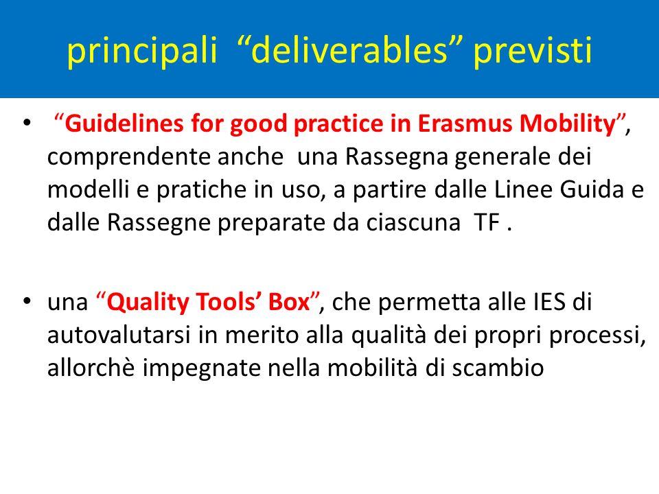 principali deliverables previsti Guidelines for good practice in Erasmus Mobility, comprendente anche una Rassegna generale dei modelli e pratiche in uso, a partire dalle Linee Guida e dalle Rassegne preparate da ciascuna TF.