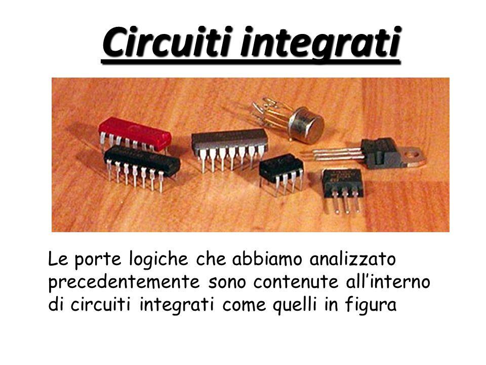 Circuiti integrati Le porte logiche che abbiamo analizzato precedentemente sono contenute allinterno di circuiti integrati come quelli in figura