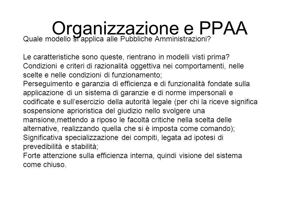 Organizzazione e PPAA Quale modello si applica alle Pubbliche Amministrazioni? Le caratteristiche sono queste, rientrano in modelli visti prima? Condi