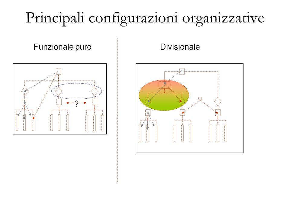 Principali configurazioni organizzative Modello divisionale Vantaggi: veloce capacità di risposta (ambiente dinamico), coordinamento capacità di individuare il responsabile di prodotto decentralizza il processo decisionale Limiti: duplicazione di costi, conoscenze non profonde scarso coordinamento tra le linee di prodotto