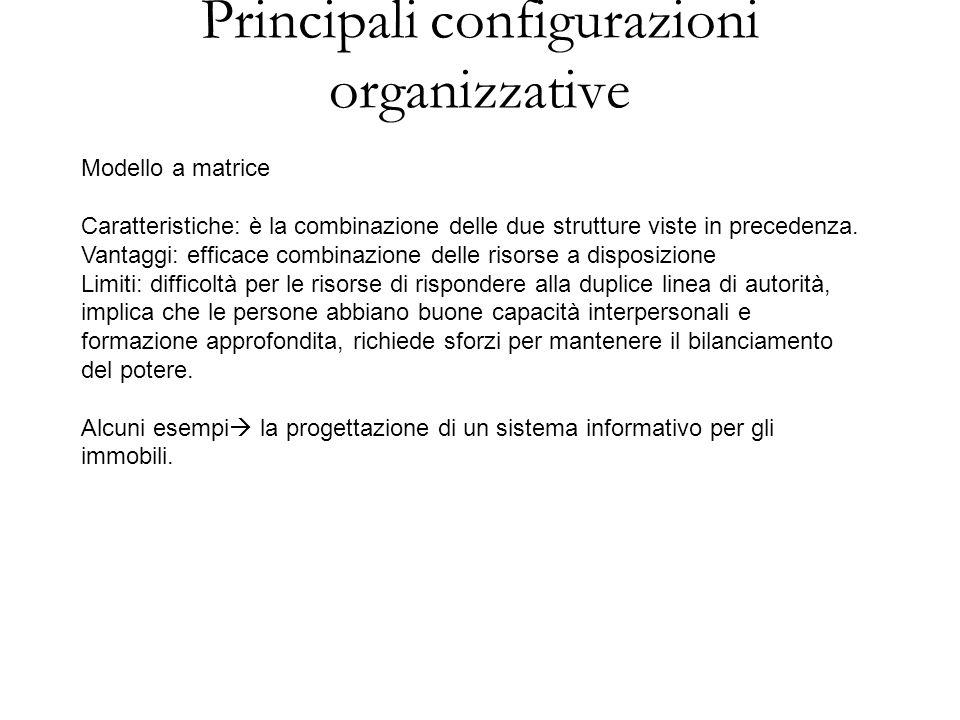 Principali configurazioni organizzative Modello a matrice Caratteristiche: è la combinazione delle due strutture viste in precedenza. Vantaggi: effica