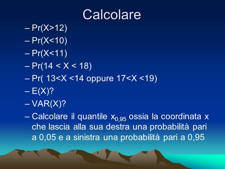 Calcolare –Pr(X>12) –Pr(X<10) –Pr(X<11) –Pr(14 < X < 18) –Pr( 13<X <14 oppure 17<X <19) –E(X)? –VAR(X)? –Calcolare il quantile x 0,95 ossia la coordin