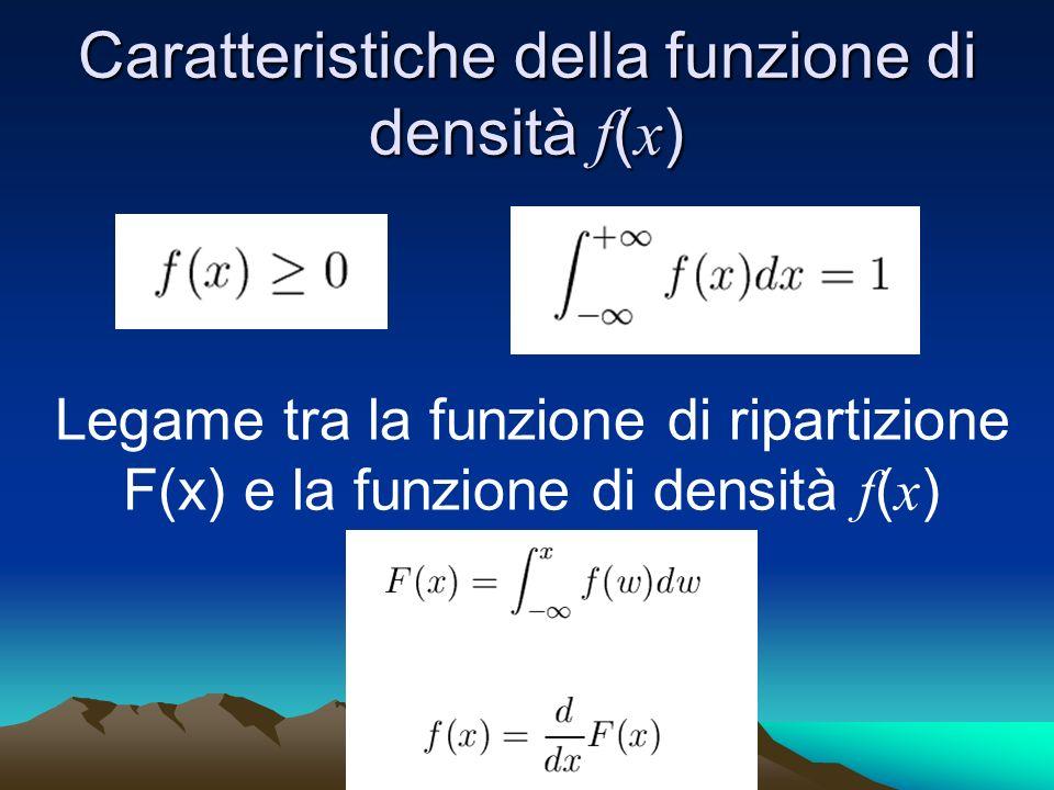 Caratteristiche della funzione di densità f ( x ) Legame tra la funzione di ripartizione F(x) e la funzione di densità f ( x )