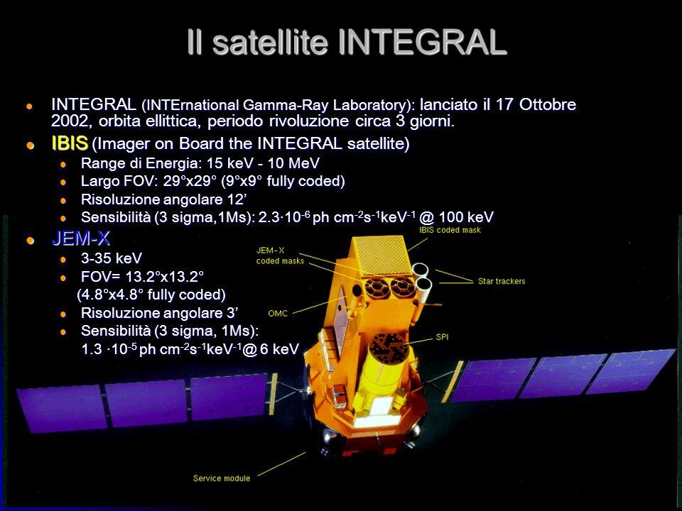 6 Il satellite INTEGRAL INTEGRAL (INTErnational Gamma-Ray Laboratory): lanciato il 17 Ottobre 2002, orbita ellittica, periodo rivoluzione circa 3 gior