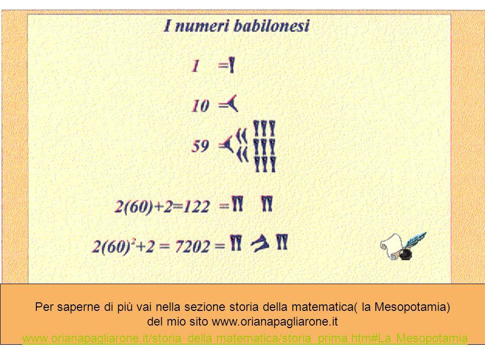 Per saperne di più vai nella sezione storia della matematica( la Mesopotamia) del mio sito www.orianapagliarone.it www.orianapagliarone.it/storia dell