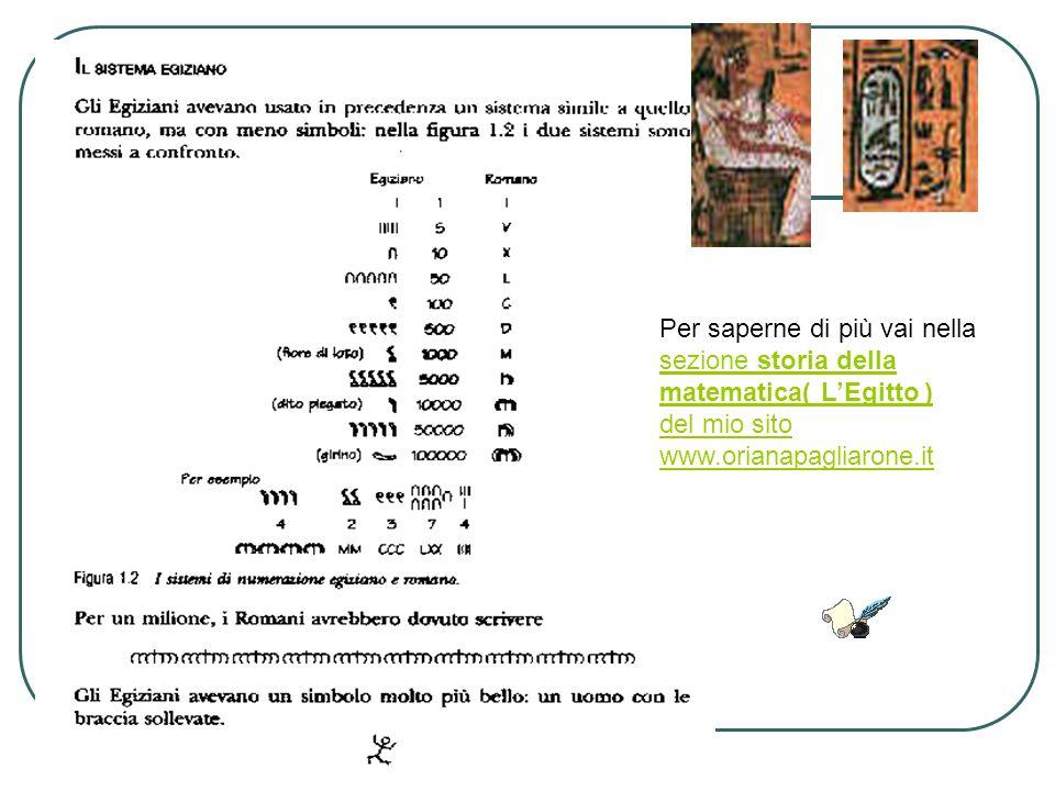 Per saperne di più vai nella sezione storia della matematica( LEgitto ) sezione storia della matematica( LEgitto ) del mio sito www.orianapagliarone.i