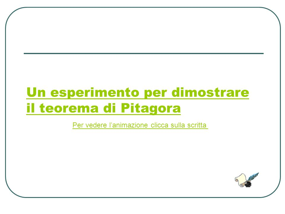 Un esperimento per dimostrare il teorema di Pitagora Per vedere lanimazione clicca sulla scritta