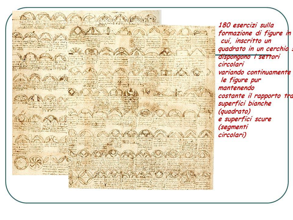 180 esercizi sulla formazione di figure in cui, inscritto un quadrato in un cerchio si dispongono i settori circolari variando continuamente le figure
