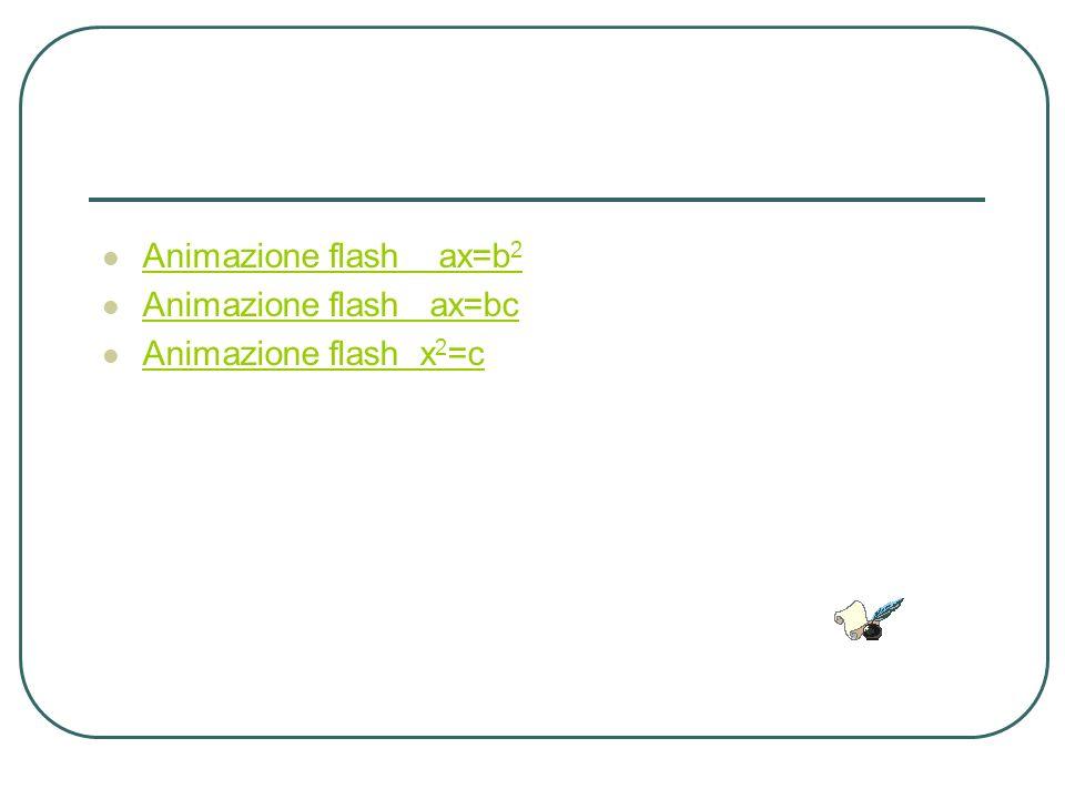 Animazione flash ax=b 2 Animazione flash ax=b 2 Animazione flash ax=bc Animazione flash x 2 =c Animazione flash x 2 =c